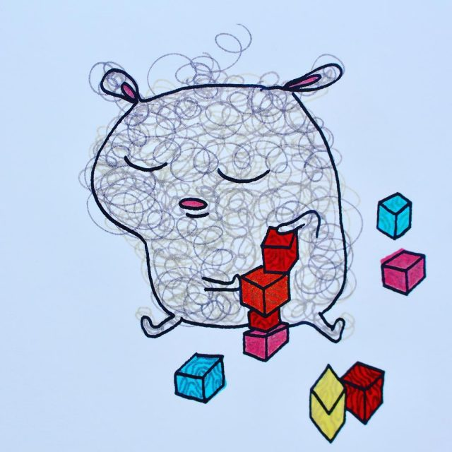 Nalle leger med byggeklodser Det skal jo ogs passes mitbogskabhellip